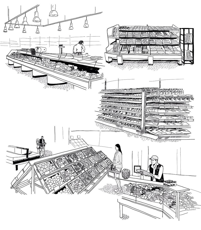Illustrator_Illustration_Hamburg_people_carina_crenshaw__Skizze_zeichnung_einkaufen_theke_interieur_supermarkt